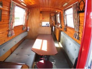 interior of a canal boat