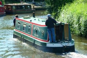narrowboat on canal in England