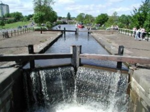 canal boats pass through locks like this, on the Forth and Clyde Canal, Scotland